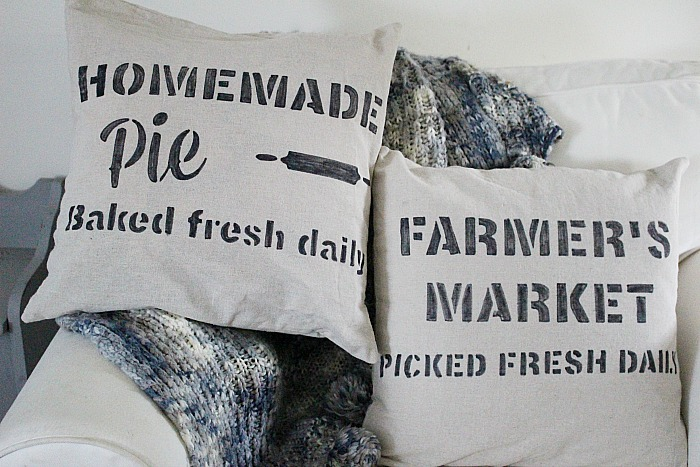 DIY Farmhouse Stenciled Pillows-Monthly Crafty Destash-Our Crafty Mom