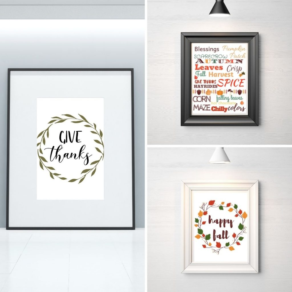 3 printable wall art in a frame hanging on a wall