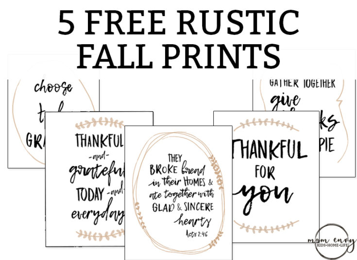 Five Free Fall Prints – Free Thanksgiving Printables