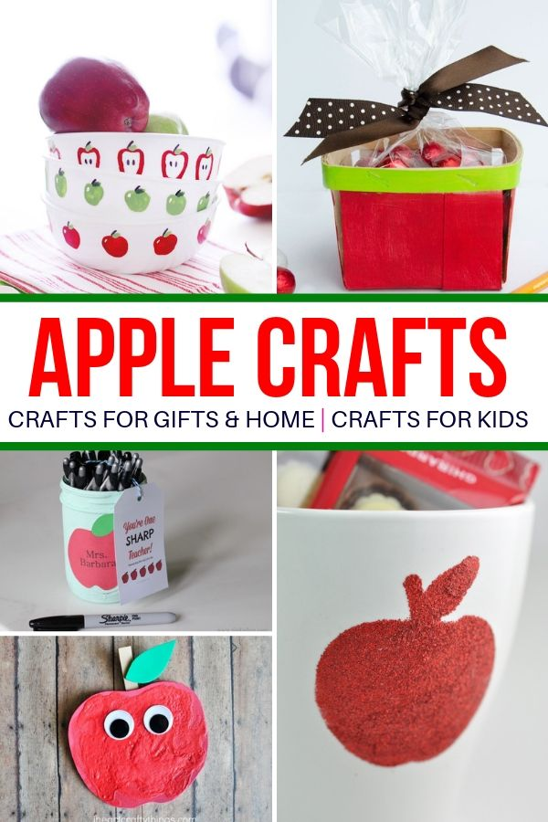 Easy apple crafts for fall. From apple kid crafts to home decor and even apple gift ideas. This list is all you need for fun apple crafts for the whole family. #apple #crafts #diy #project #kids #toddlers #giftideas #backtoschool