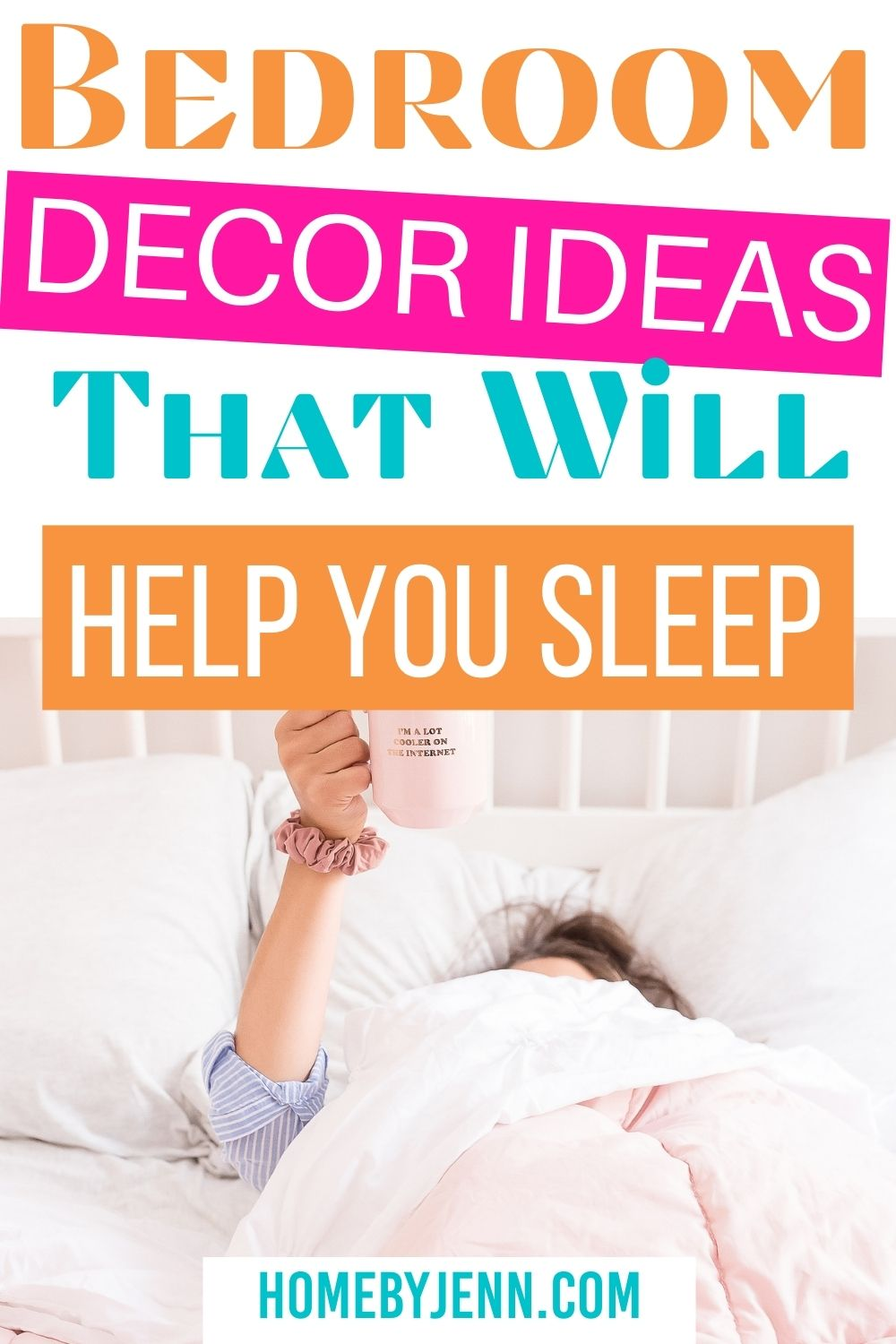 woman laying in bed holding a coffee cup via @homebyjenn