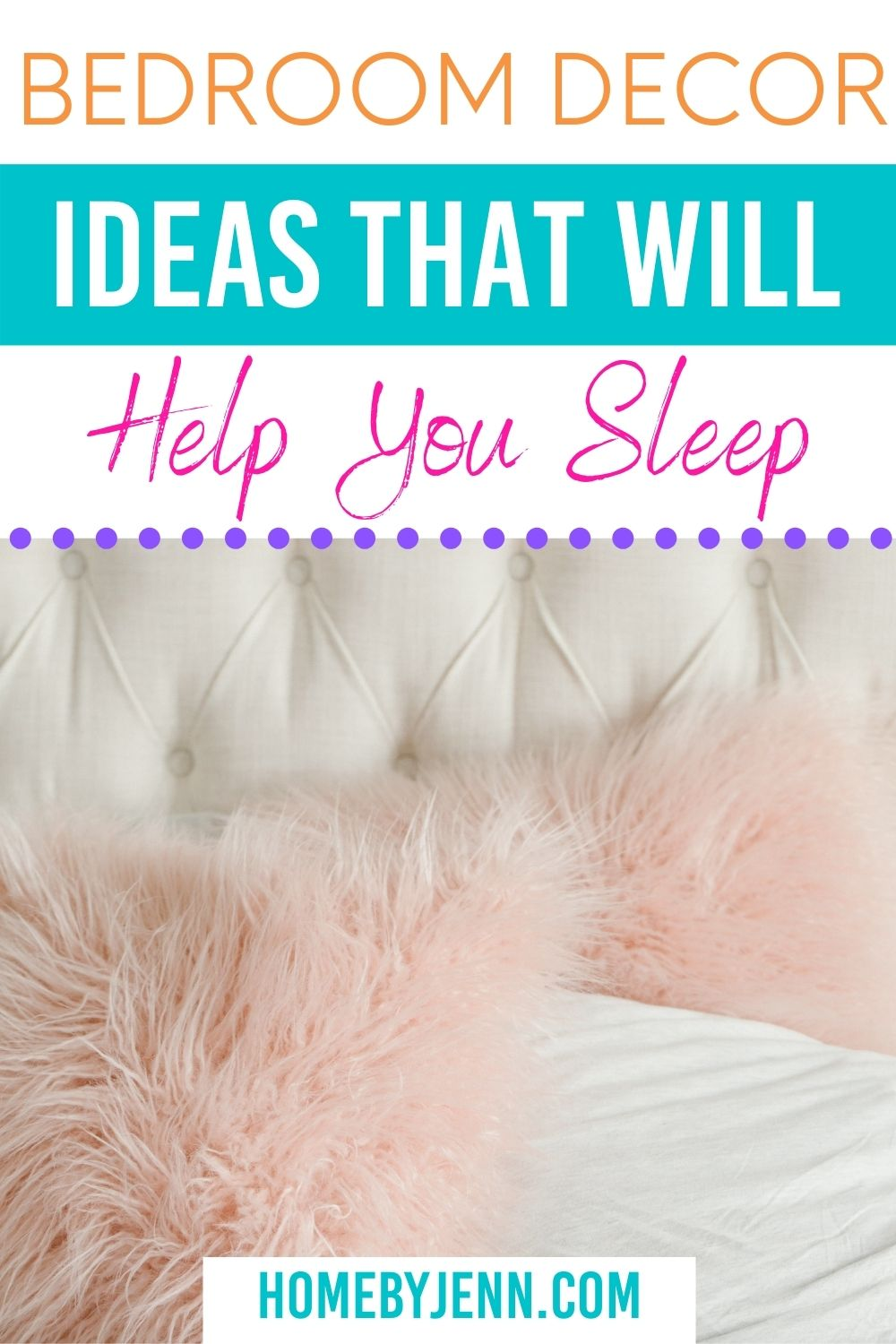 bed with pink fluffy pillows via @homebyjenn