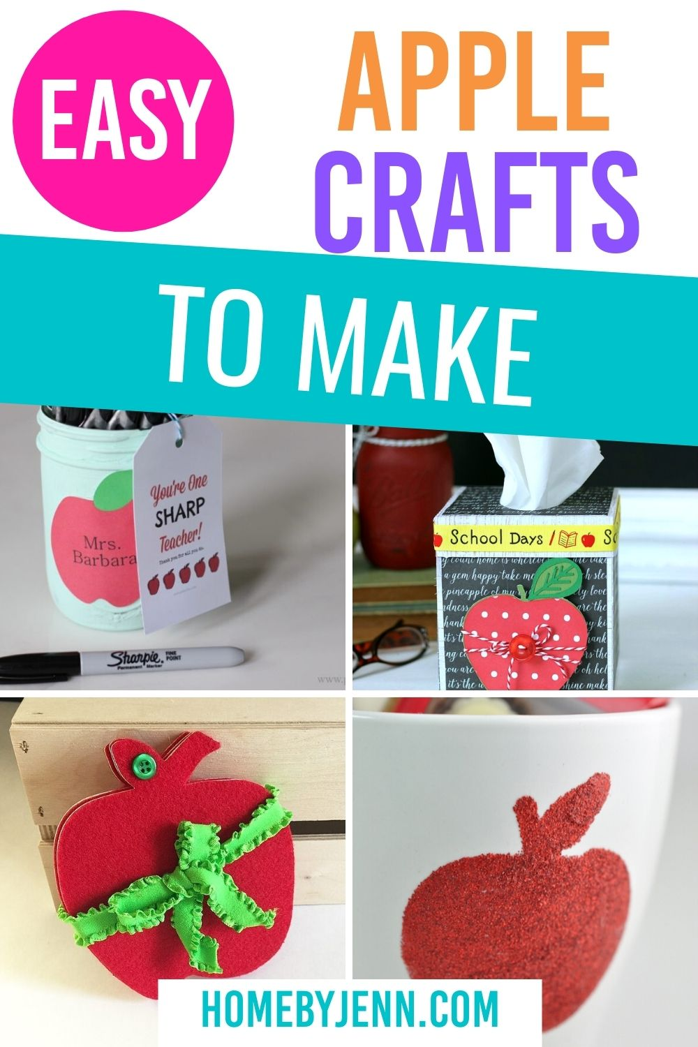 Easy apple crafts for fall. From apple kid crafts to home decor and even apple gift ideas. This list is all you need for fun apple crafts for the whole family. #apple #crafts #diy #project #kids #toddlers #giftideas #backtoschool via @homebyjenn