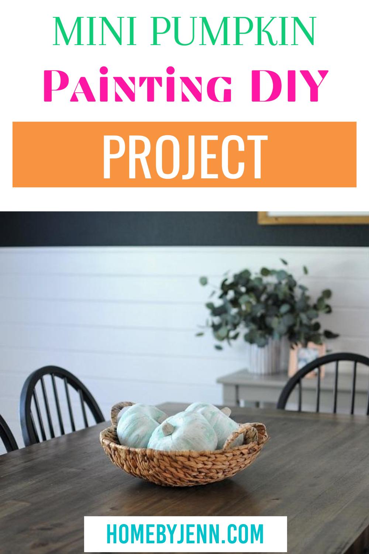 This pumpkin painting DIY tutorial will show you step-by-step how to transform $1 styrofoam pumpkins into stylish farmhouse decor! #pumpkin #painting #homedecorDIY #pumpkincraft #farmhouse #diy #tutorial #paintbrush via @homebyjenn