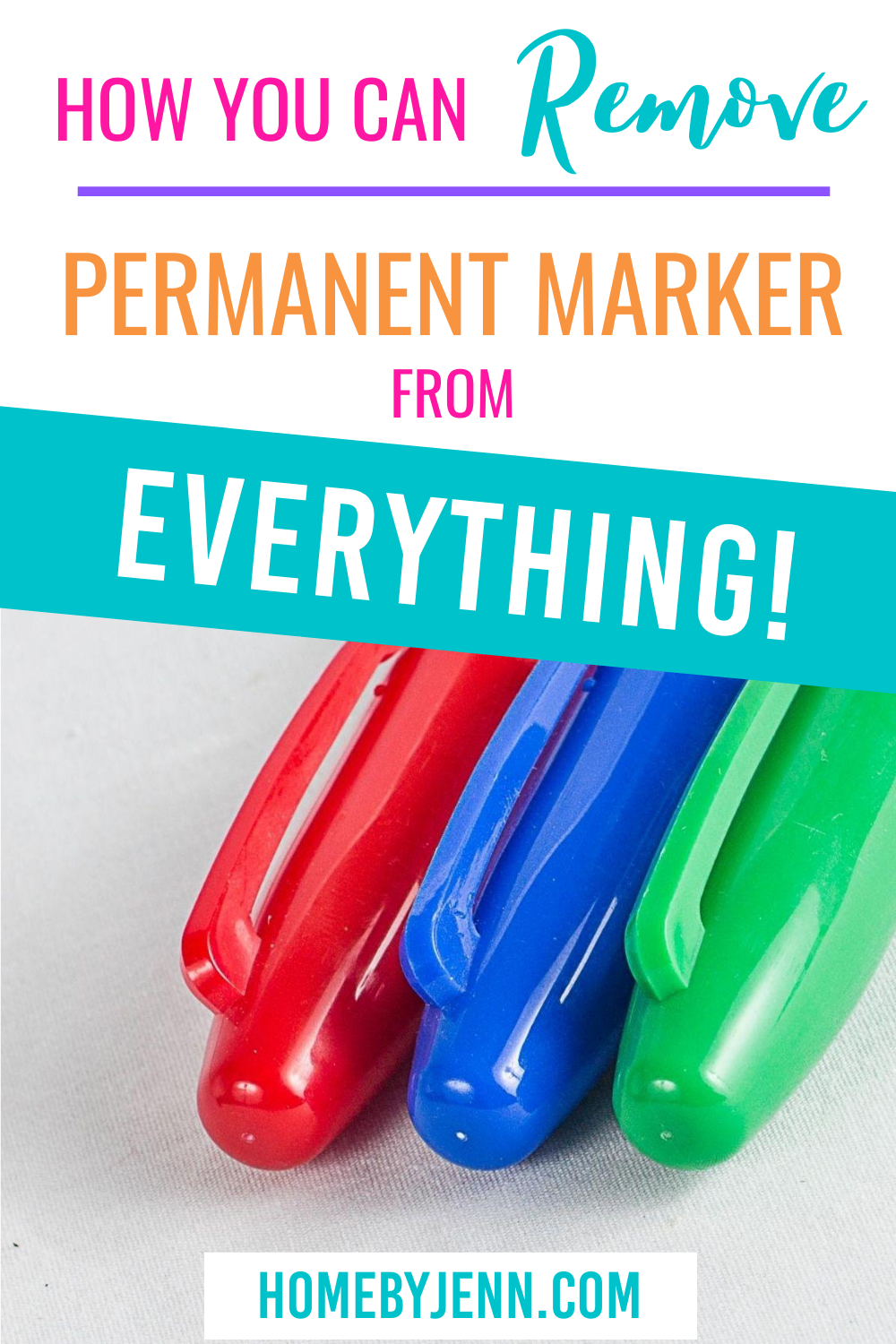 Remove permanent marker from anything with these cleaning tips. Items aren't ruined with these cleaning hacks. #cleaningtips #cleaninghacks #cleaningtipsandtricks #removepermanentmarker via @homebyjenn