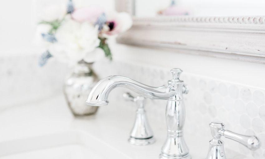 shiny metal faucet