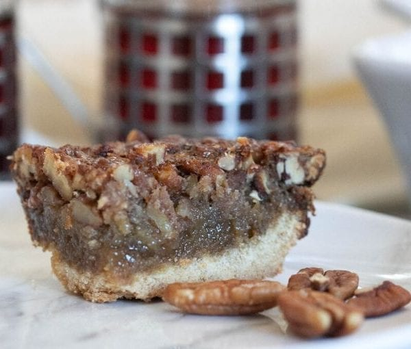 close up piece of the easy pecan pie bars
