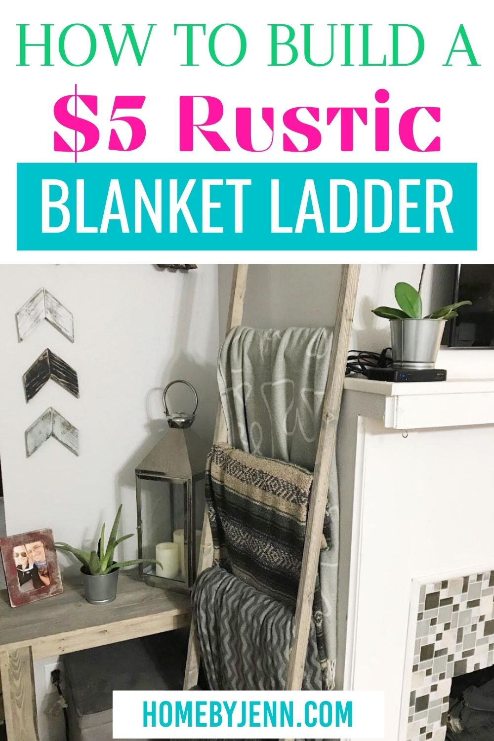 Make this simple DIY Blanket Ladder. This is blanket ladder is a perfect beginner DIY woodworking project and can be made for only $5. #DIY #DIYproject #woodworking #blanketladder #farmhouse #homedecor #rusticdecor #blanketladder #blanketladderdiy #diyblanketladder via @homebyjenn