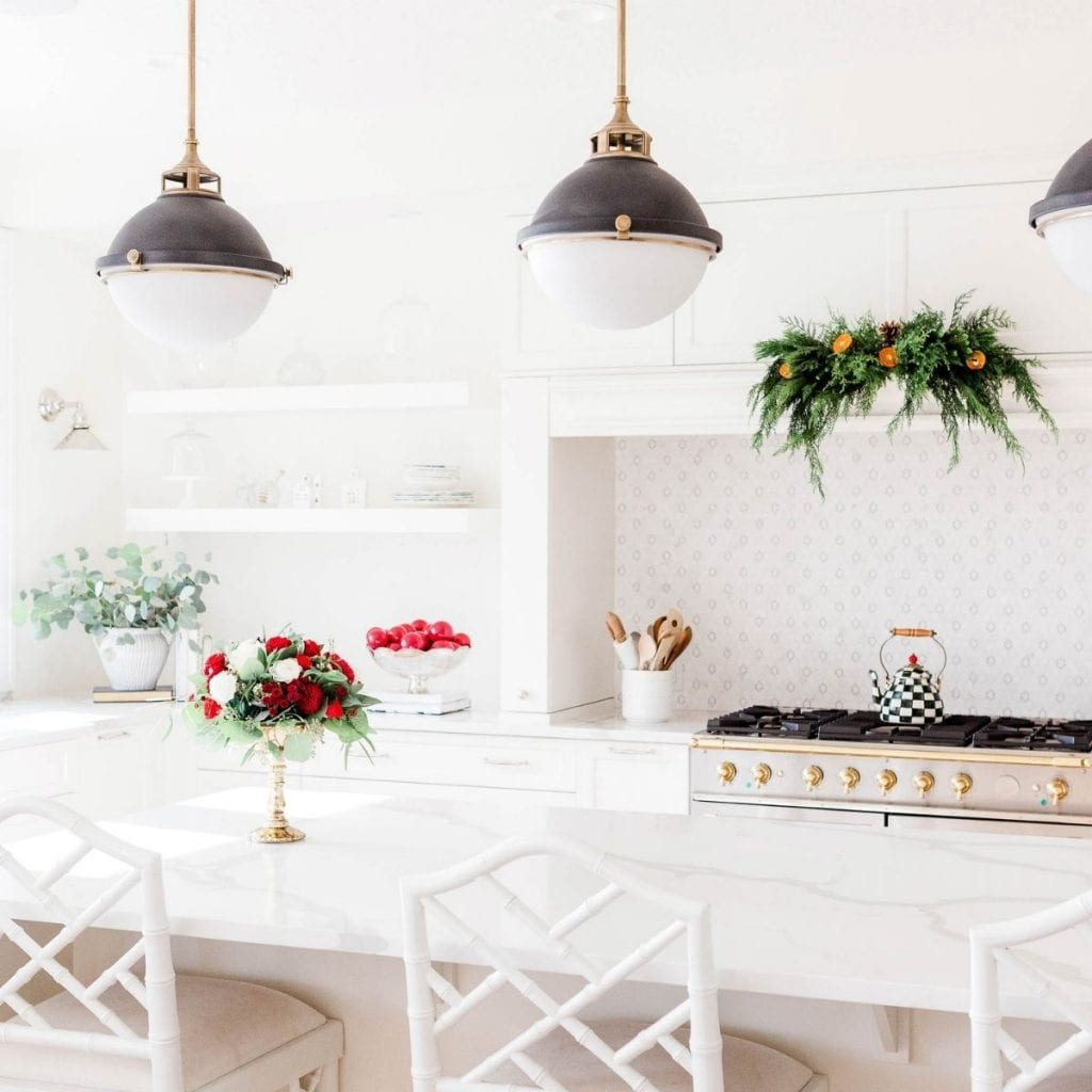 kitchen with christmas decoration decluttered before christmas