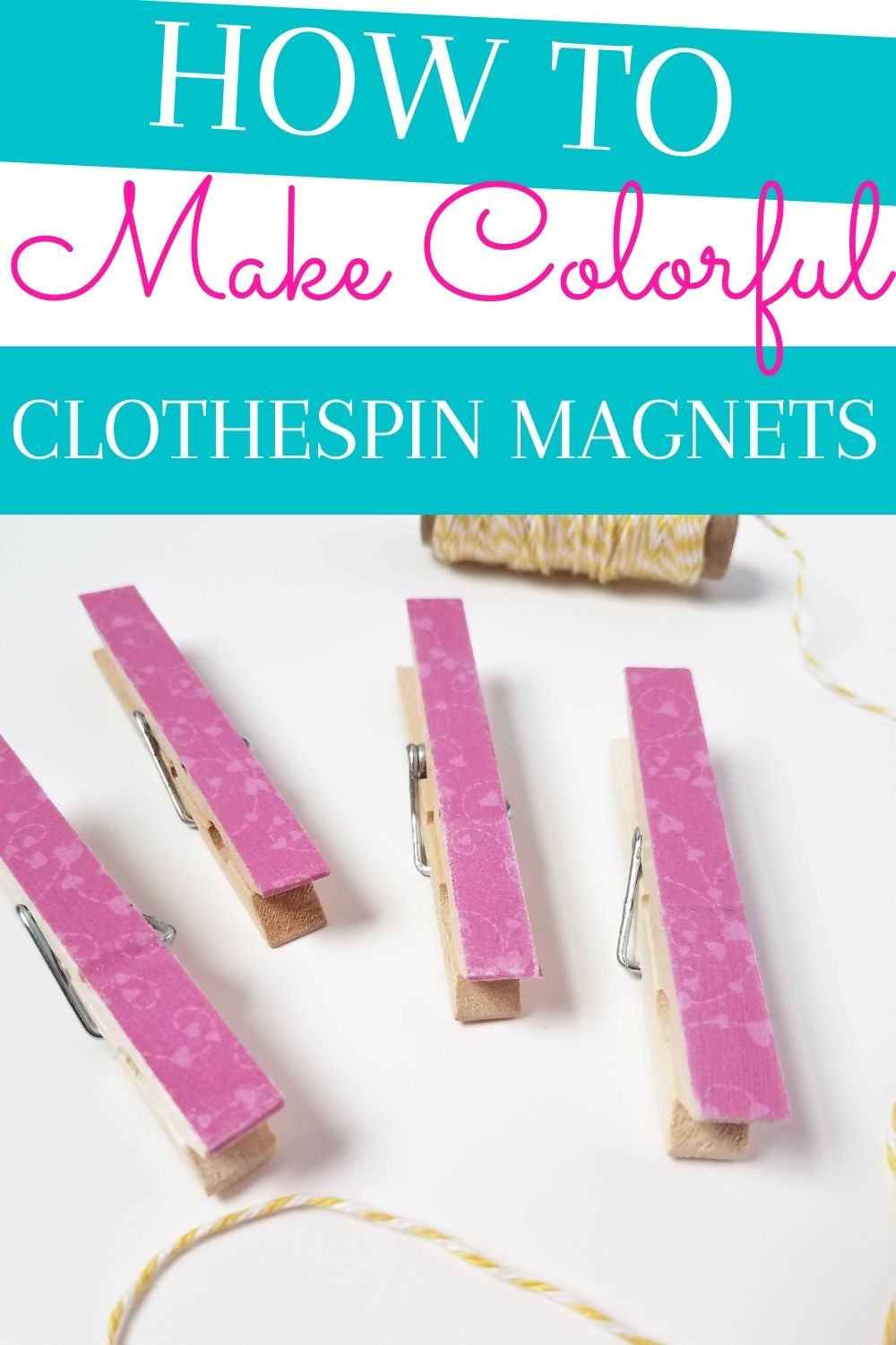 How to Make Colorful Clothespin Magnets for your fridge and more. Great for hanging photos, shopping lists, or adding a pop of color to the room #clothespins #craft #diy #easy #howto #colorful #kidsroom #fridge via @homebyjenn