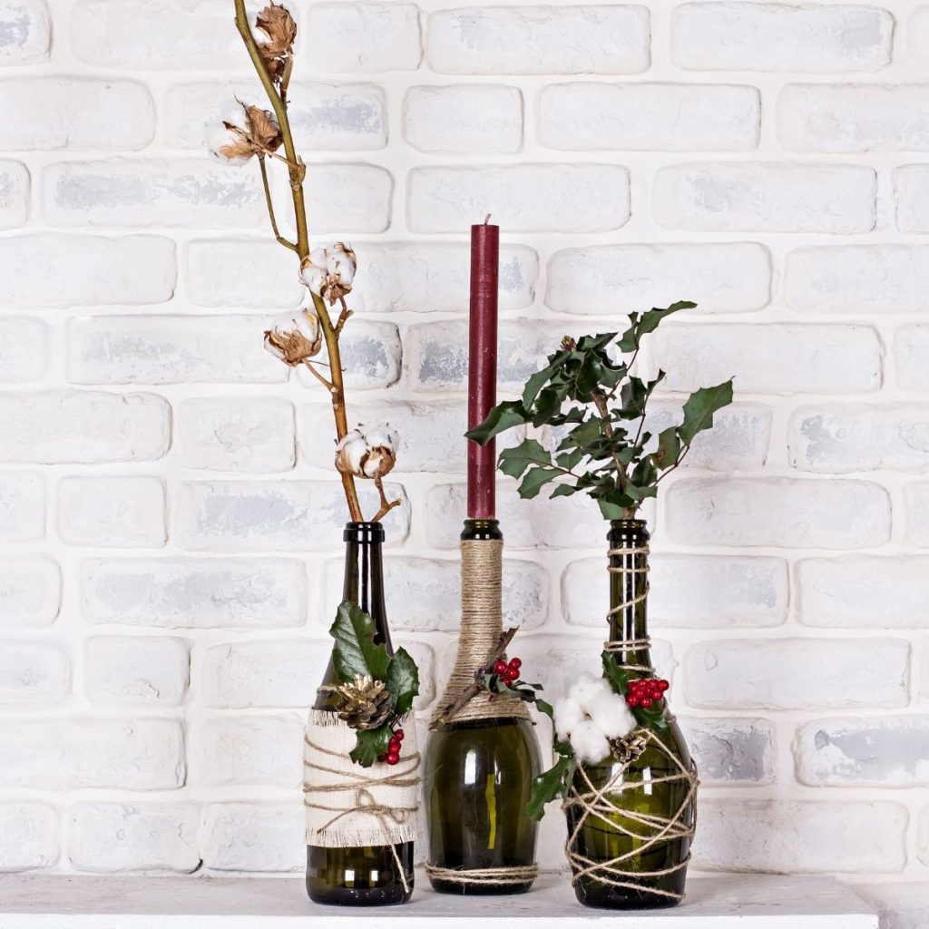 bottles with branches in them
