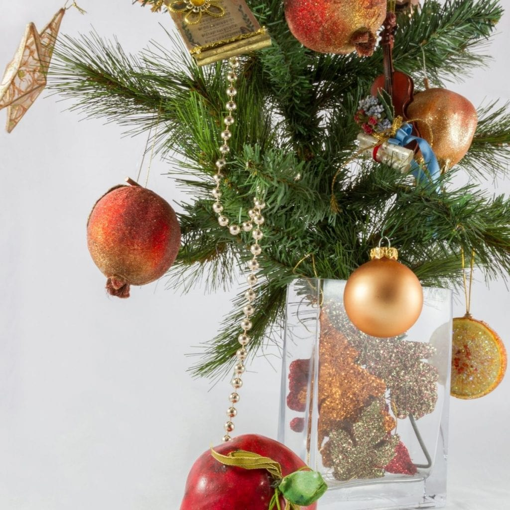 Branches in a vase with ornaments