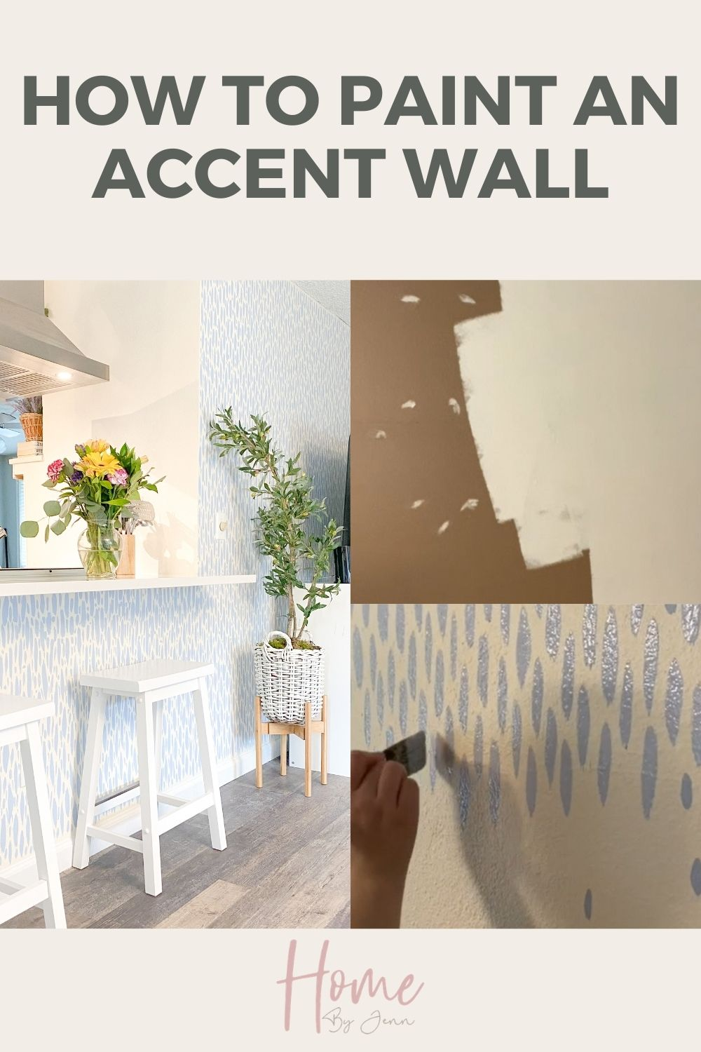 Having a beautiful accent wall can transform a room. Learn how to paint an accent wall. I recently redid our living room and created a DIY Accent Wall with some paint. Check out this DIY Accent Wall tutorial for this budget-friendly way to transform your home. via @homebyjenn