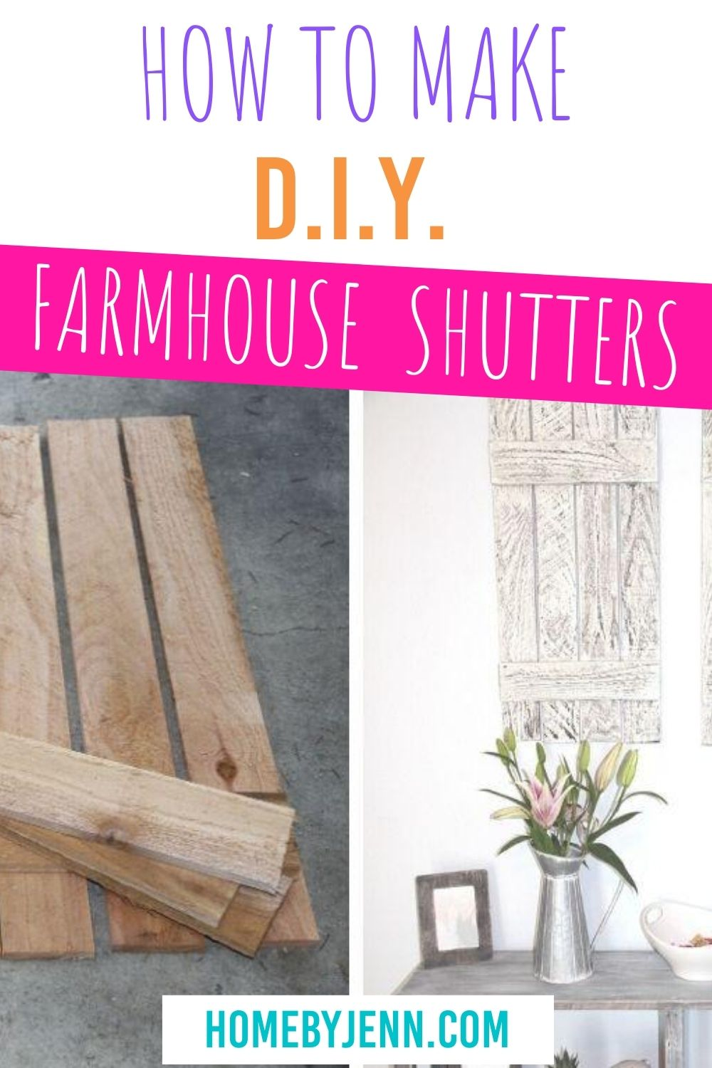 Learn how to make these farmhouse shutters. This is a simple DIY woodworking project that anyone can do. Watch the full step-by-step tutorial from the raw wood to destressing the paint giving a warn rustic farmhouse look. via @homebyjenn