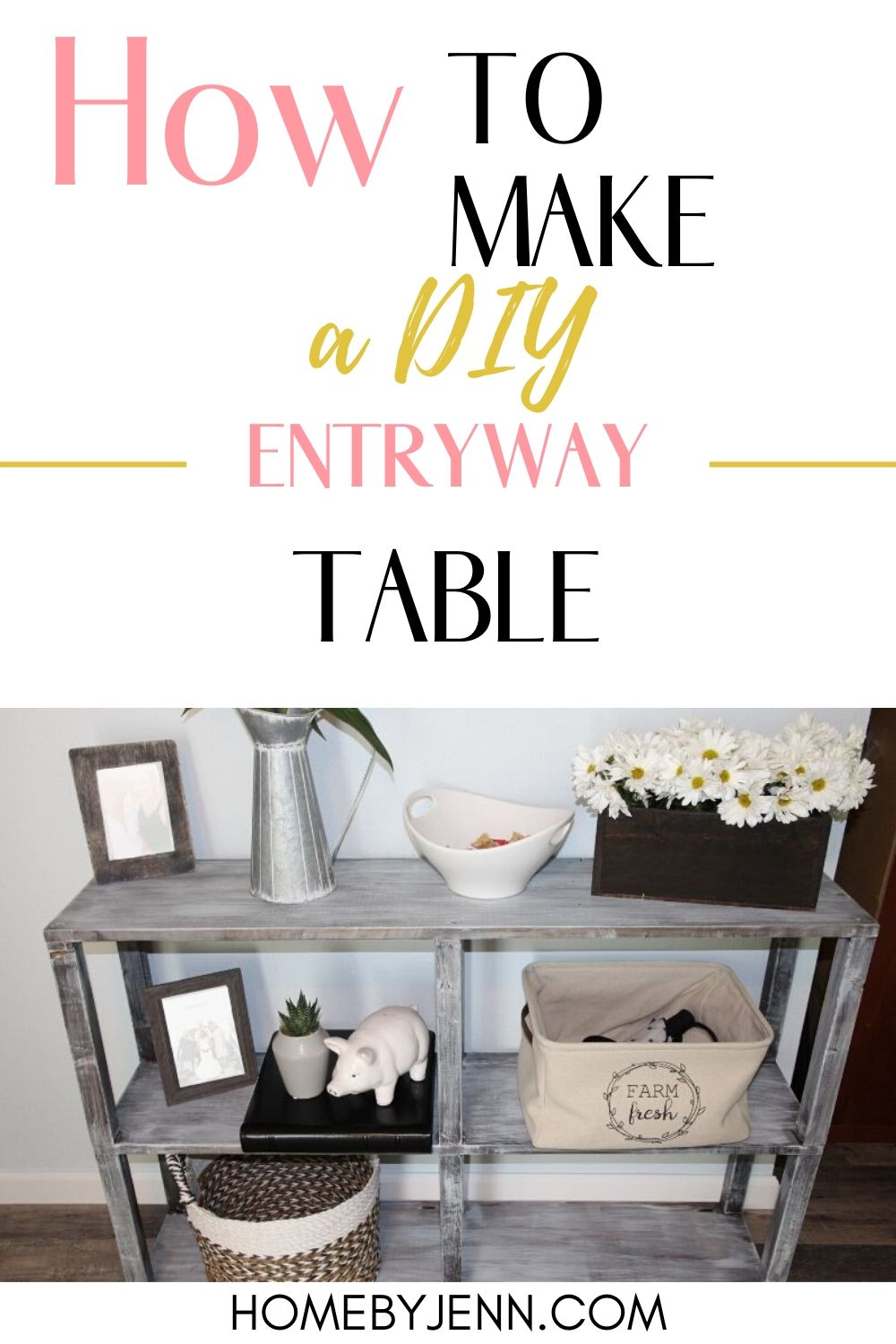 entryway table with flowers and photos via @homebyjenn