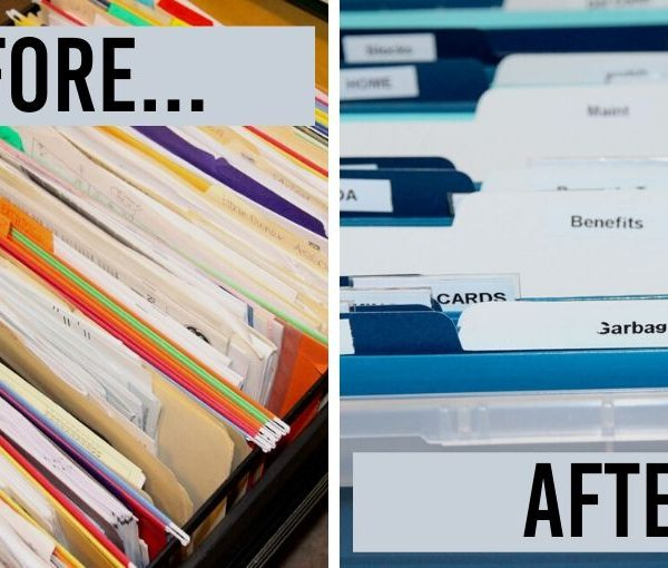 home filing system before and after