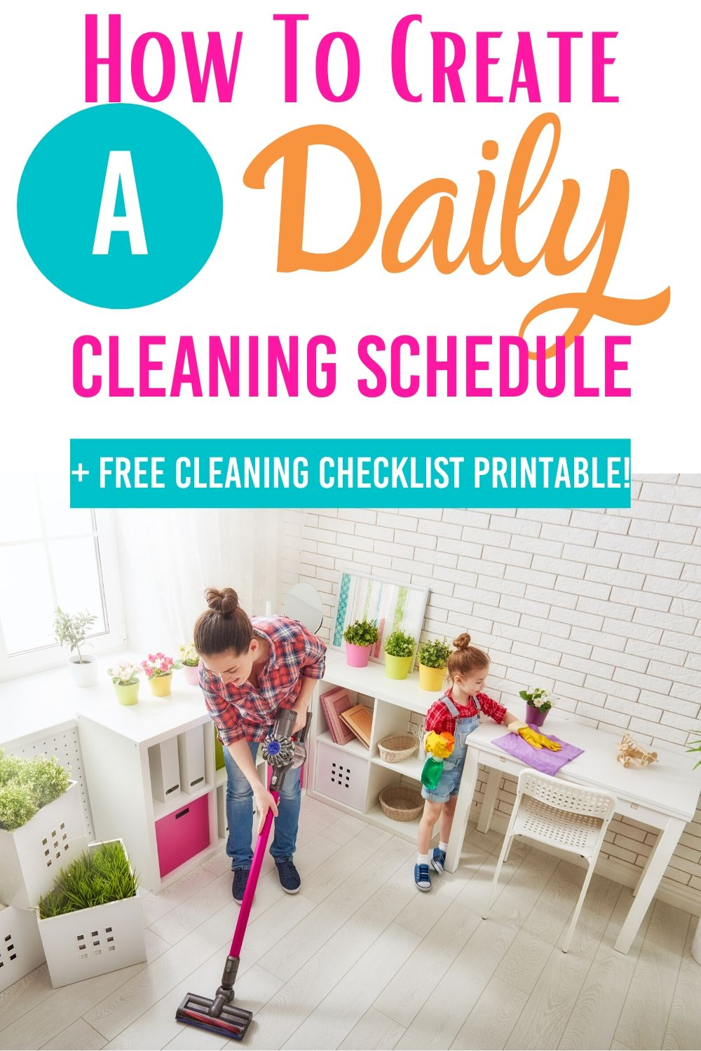 Set up a daily cleaning routine that you can follow and complete each day without forgetting something. #cleaning #cleaningtips #dailycleaning #freeprintable #cleaningchecklist #cleaningschedule #dailycleaningschedule via @homebyjenn