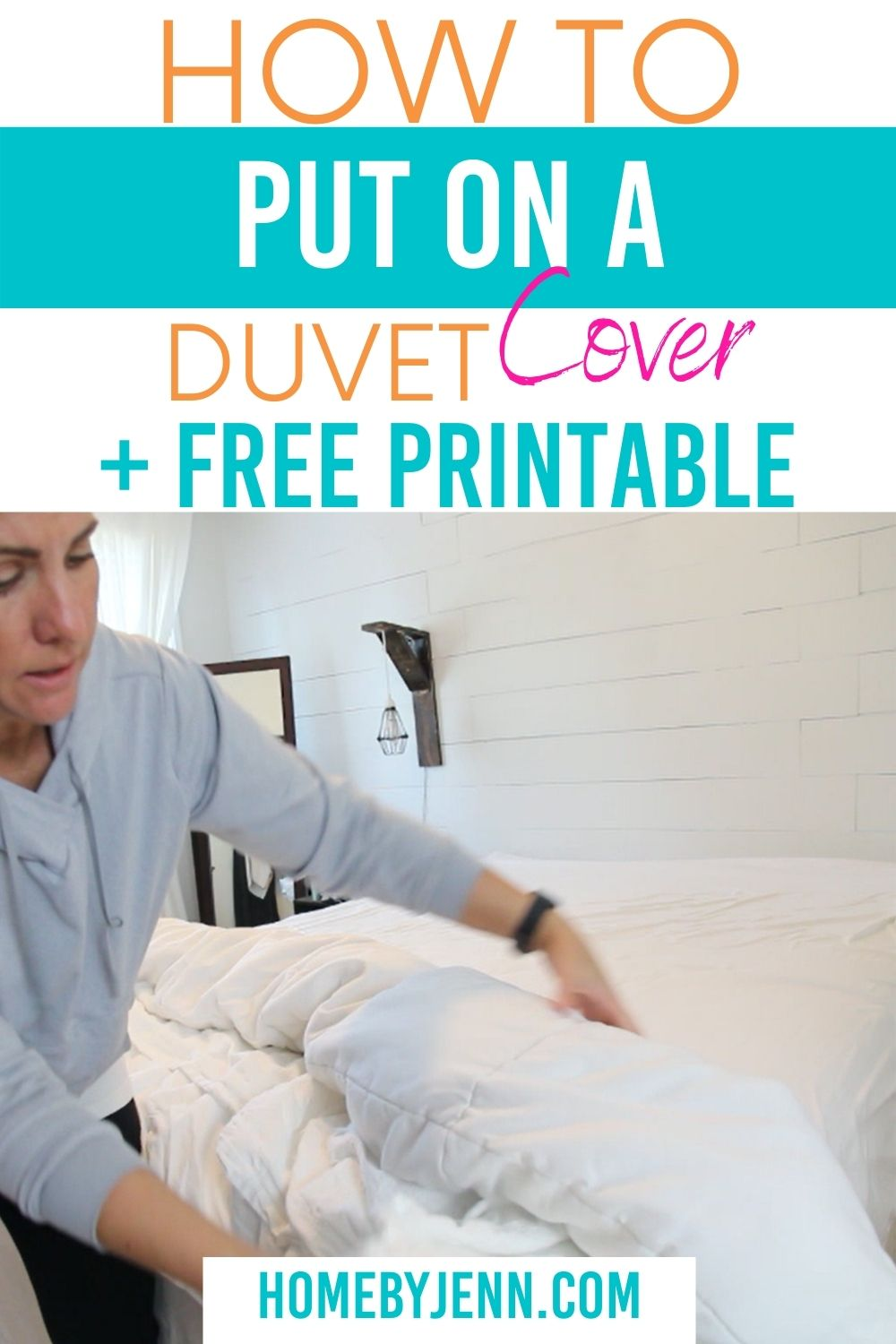 Learn how simple it is to put on a duvet cover. This step by step written and video tutorial will show you how to put on a duvet cover without the need of help from anyone. #cleaning #makingthebed #duvetcover via @homebyjenn
