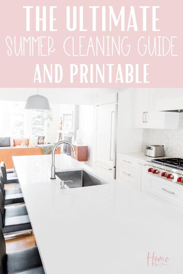 It's time to start the summer cleaning, here's exactly what to clean this summer so you can enjoy the warm sunny season. Grab the free checklist too. #checklist #tips #schedule #list #freeprintable #house #guide #cleanse via @homebyjenn
