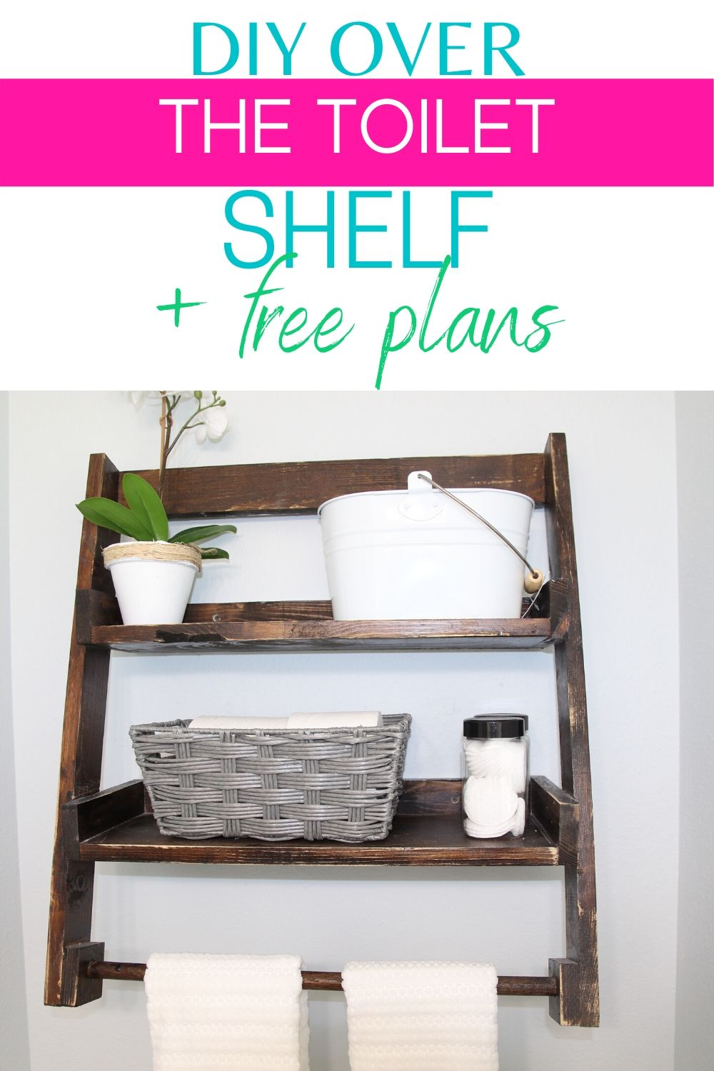 Perfect beginner diy woodworking project. Add much needed storage to your small bathroom with this over the toilet shelf. #diy #diyproject #woodworking #smallspace #smallbathroom #bathroom #bathroomorganization #smallbathroomorganization via @homebyjenn