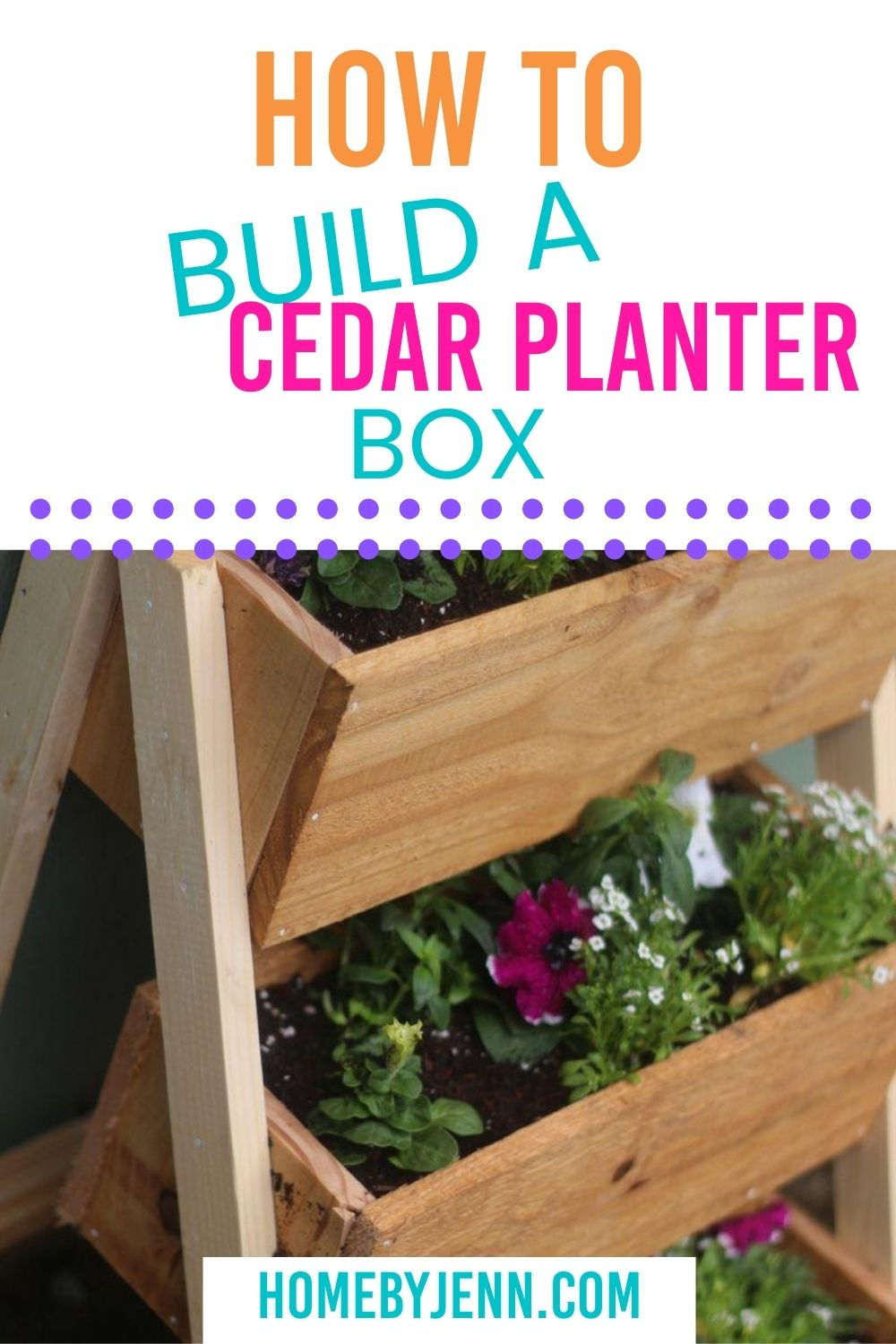 Add an extra pop of color to your entryway with this DIY planter box. This is perfect for your flower or herb garden. #garden #diy #diyproject #woodworking via @homebyjenn