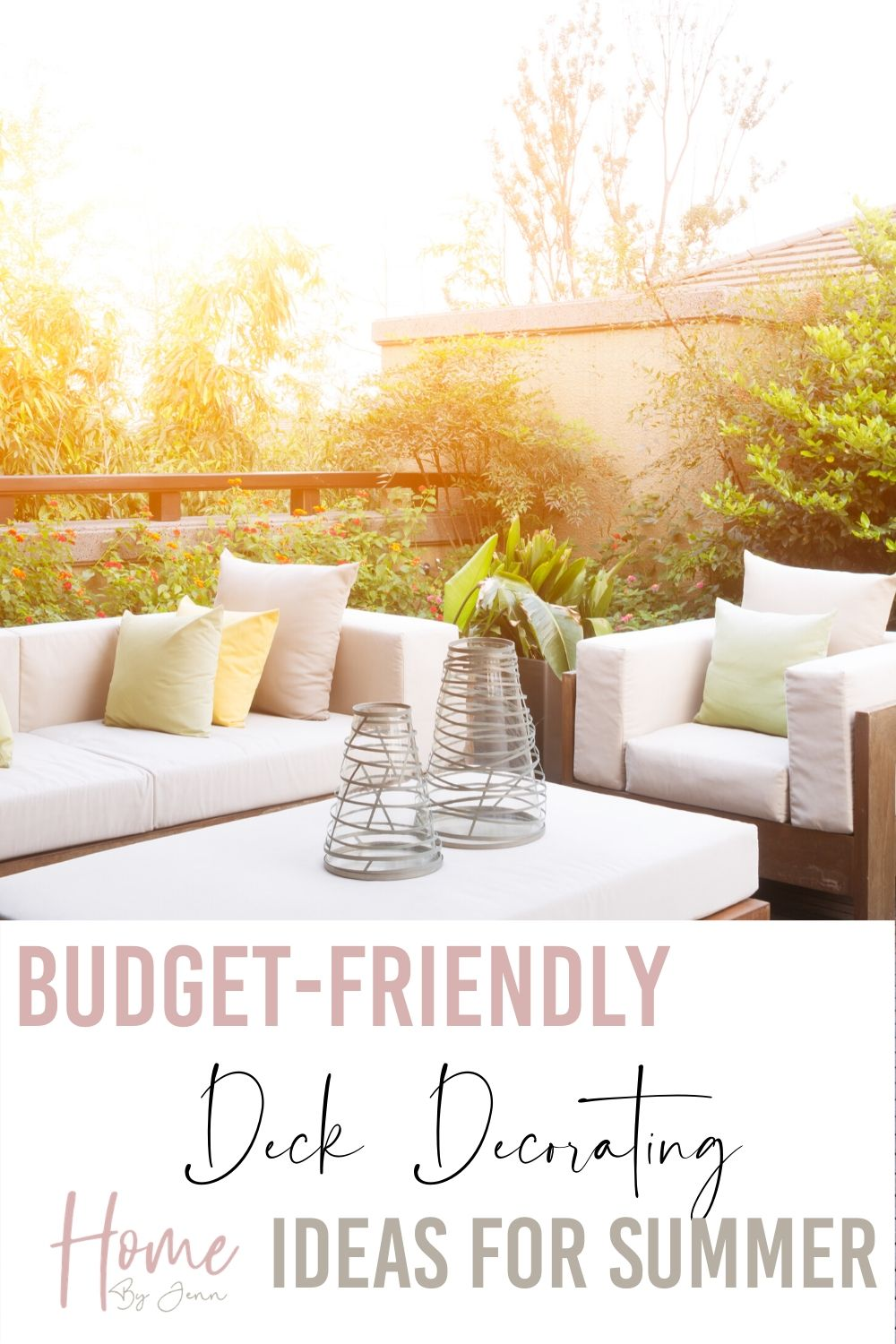 Here are some budget-friendly decorating ideas for your deck during the summer. You don't need to spend a lot to transform your deck for summer. via @homebyjenn