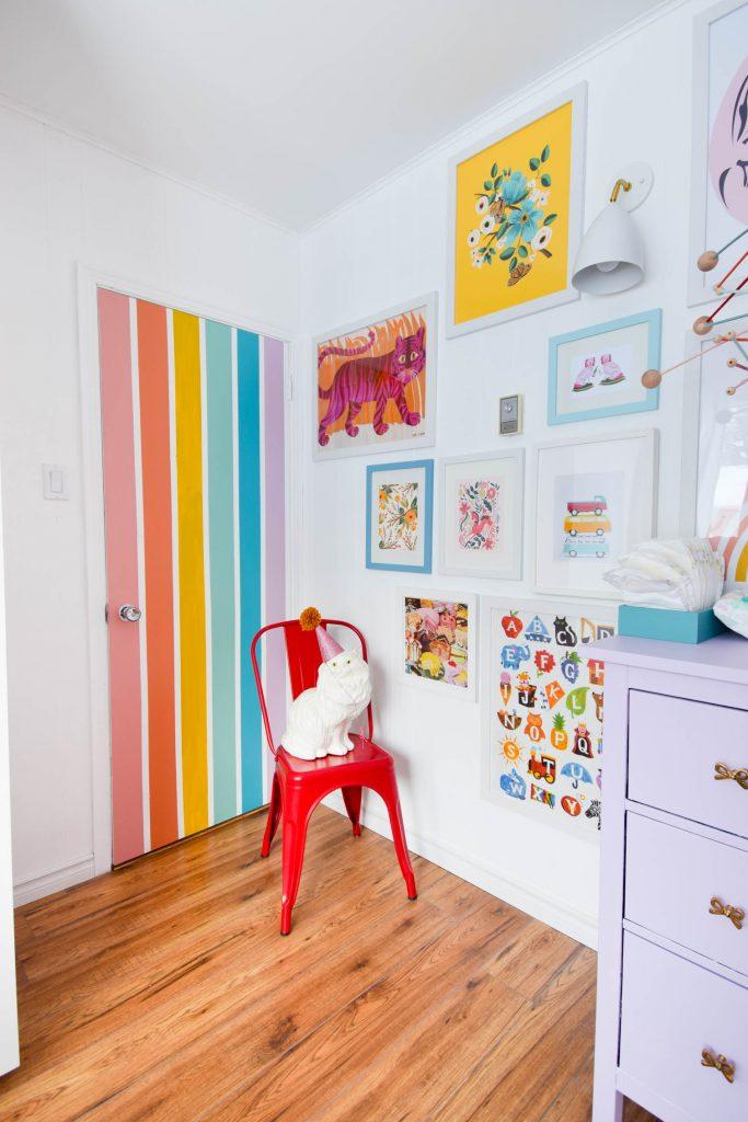 DIY Rainbow Nursery Door • PMQ for two