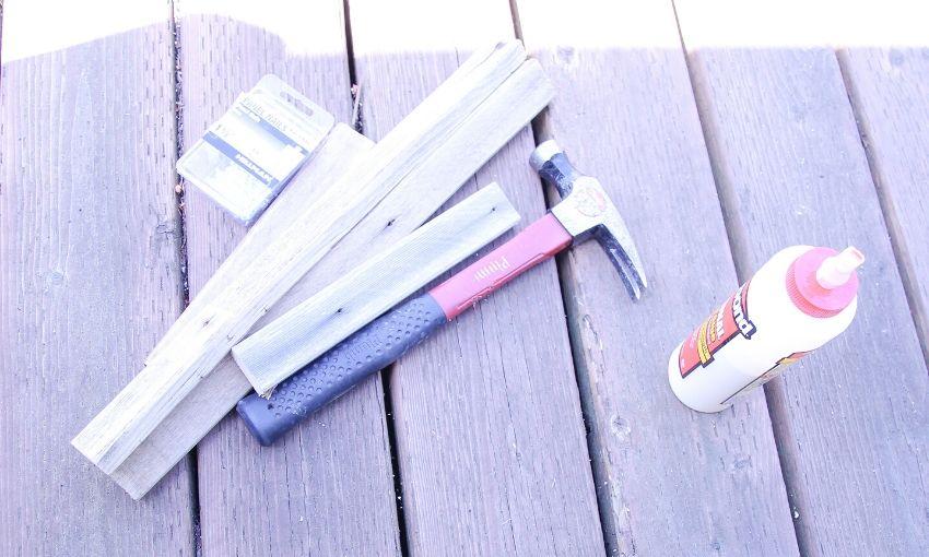 "Indoor herb garden frame supplies 1x2 1 1/2"" nails, hammer, and wood glue."