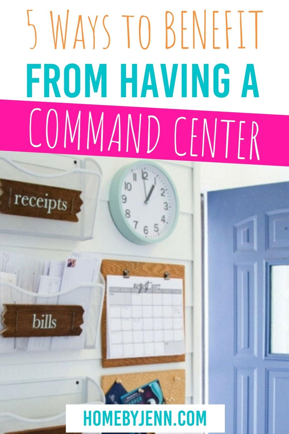 If you are ready to organize your entire family then you need to read this post. Learn all the benefits a family command center can bring | #commandcenter #organization #familycommandcenter #gettingorganized #schoolschedule via @homebyjenn