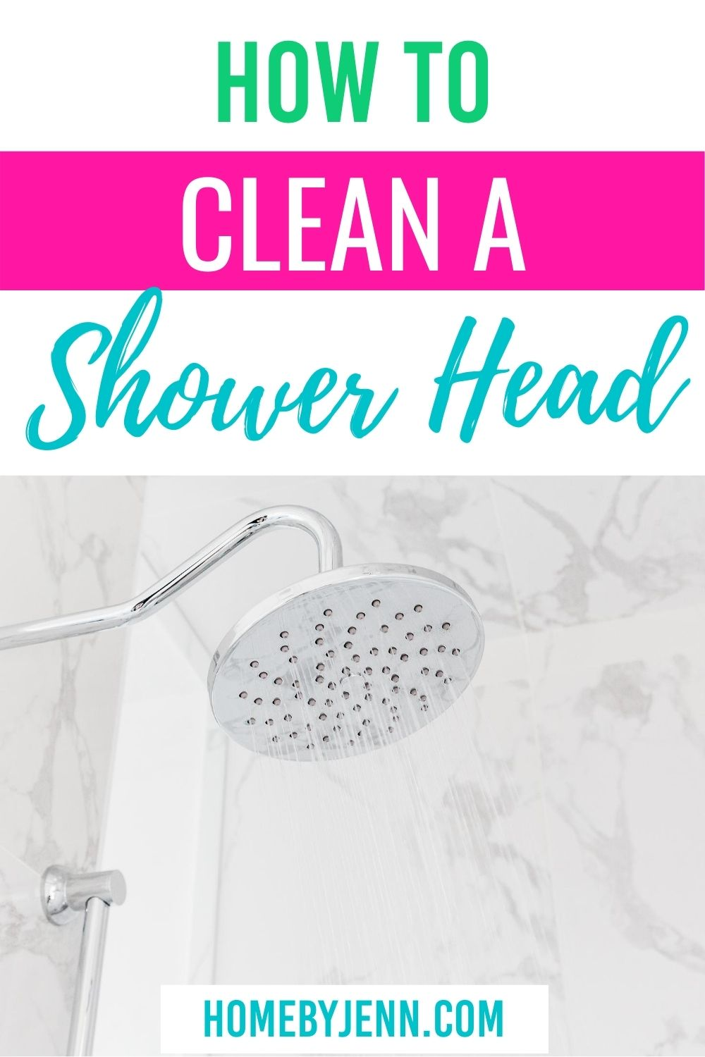 Learn how to clean your shower head by following these simple cleaning tips. #showerhead #howto #cleaning #cleaningtips #cleaninghacks #cleaningtipsandtricks via @homebyjenn
