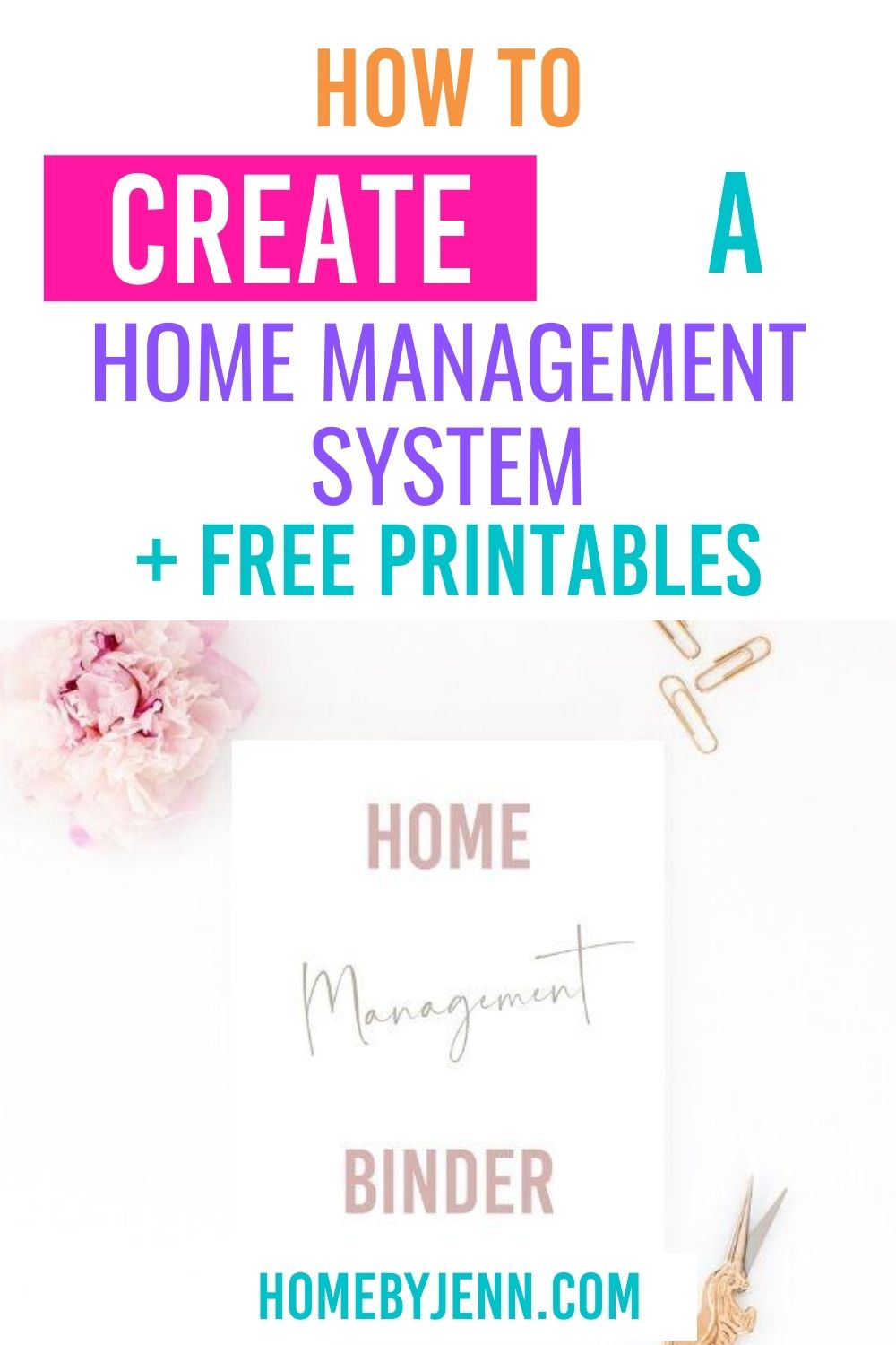 Create an amazing home management system with a free home management binder pdf. Get the full list and free printables in this post.#homemanagement #routine #organizing via @homebyjenn