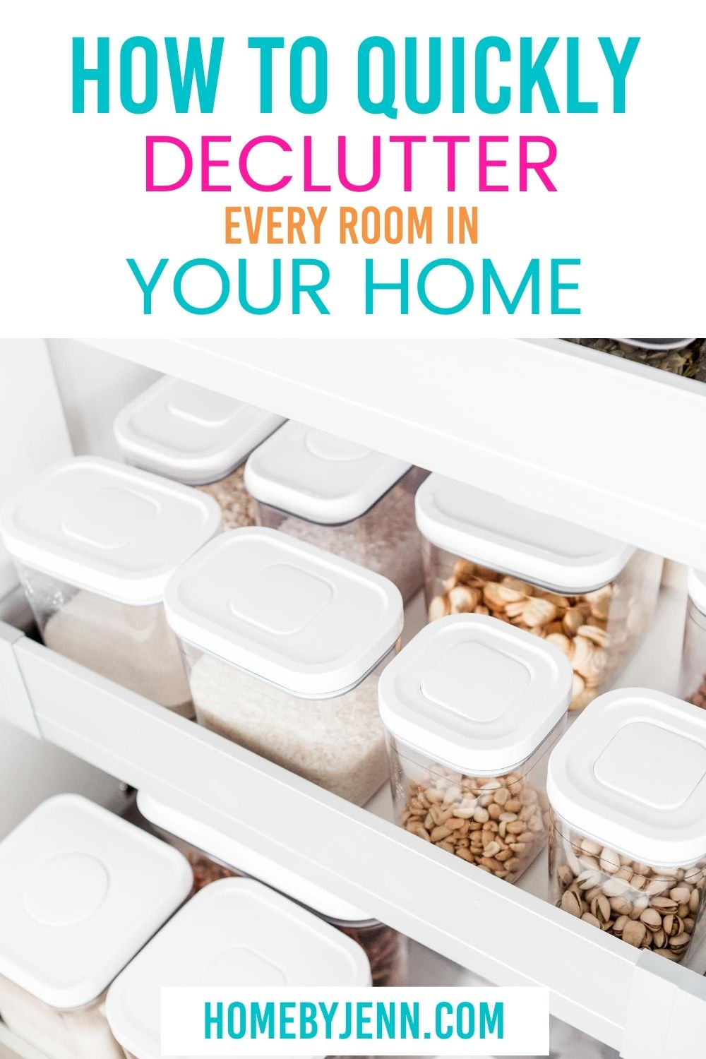 Learn how to quickly declutter your home. Download the free decluttering checklist printable to help you organize your home and remove the clutter. #decluttering #clutter #declutter #cleanhome #organizingtips #organizedhome #orgnaizing via @homebyjenn
