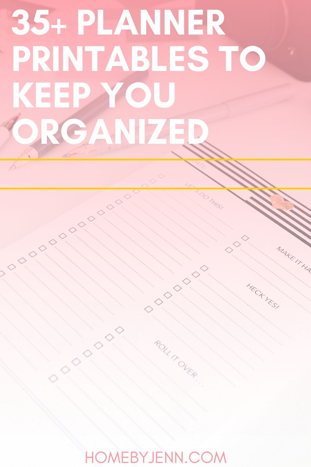 Looking for a few free printable planners to help you get organized and on track? With these 35 different options, you can't go wrong! #freeprintableplanners #homebyjenn #organization #planners via @homebyjenn