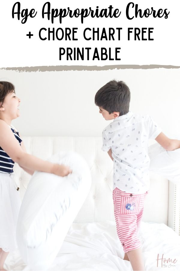 Put together a simple chore system with this free chore chart printable. Assign chores by the ultimate list of age appropriate chores in this post. Ages included from 2 all the way to teens. Perfect for all families! via @homebyjenn