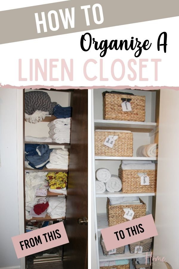 Before and after of a linen closet. via @homebyjenn