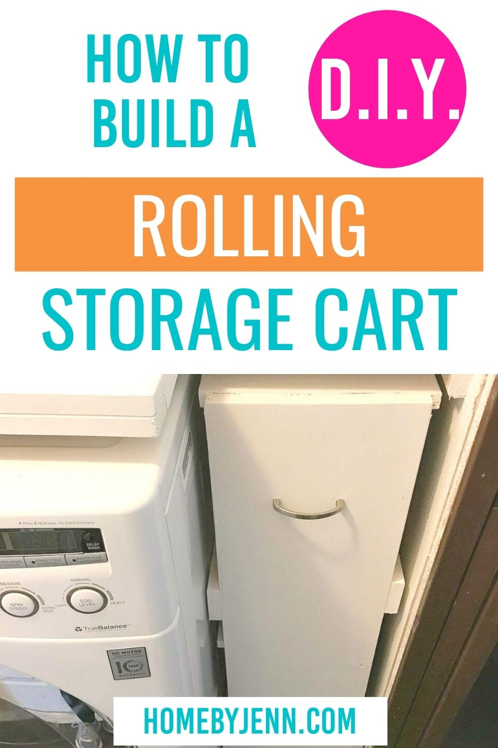 DIY Slim rolling laundry cart plus free plans. This DIY storage rolling cart will add extra storage to your laundry room. It's a simple DIY project that will give you big results. via @homebyjenn