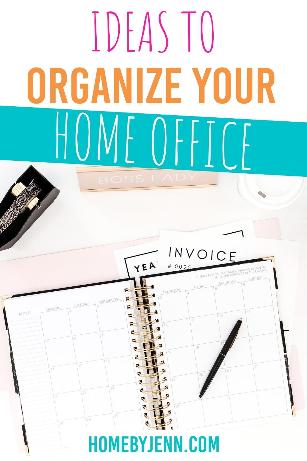 Enjoy an organized home office with these organizing ideas. These amazing home office organizing ideas will transform any home office into a place that is functional and beautiful. #organizing #organizingideas #homeoffice #office #homeofficeorganizingideas via @homebyjenn