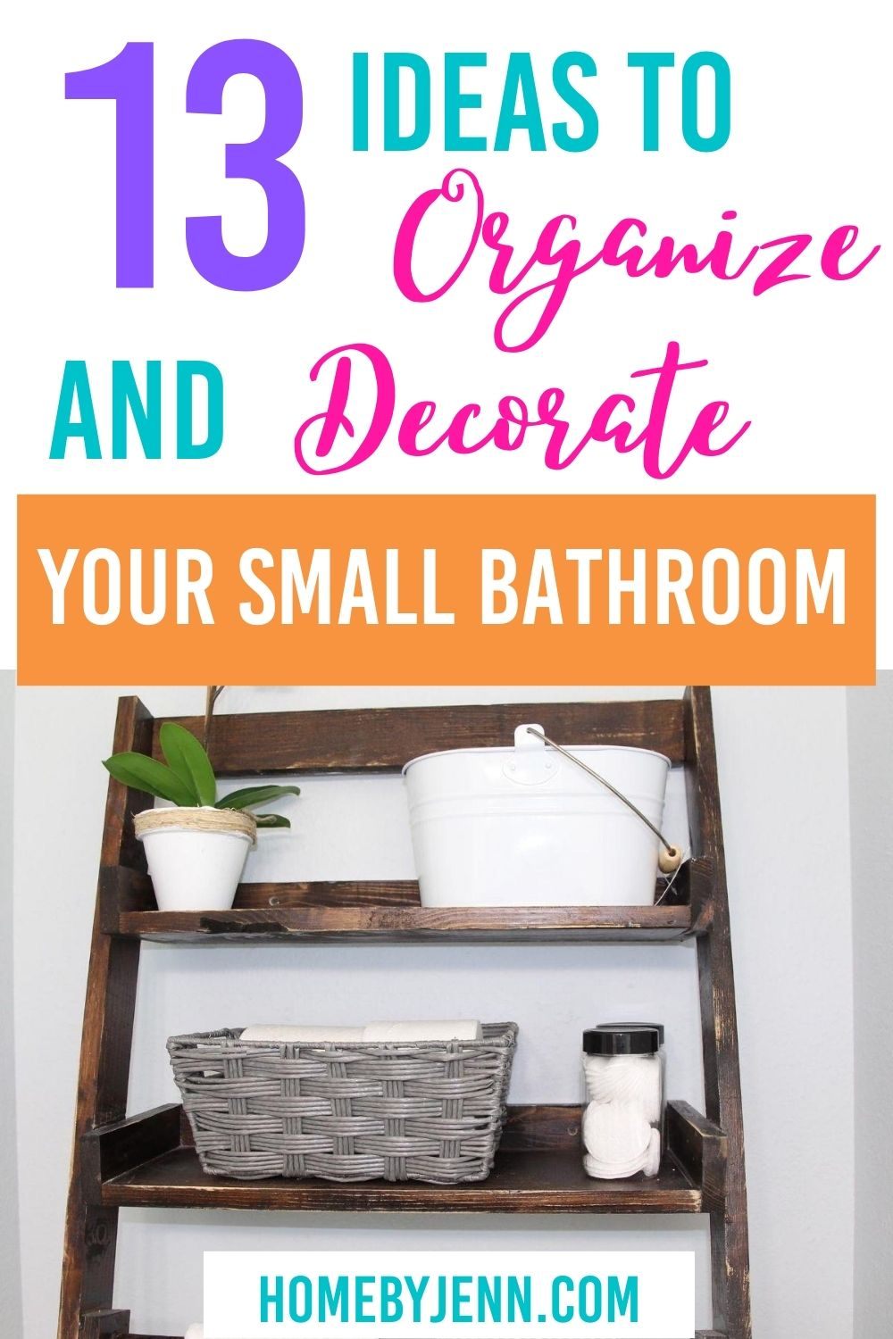 Get some great organizing ideas for your small bathroom. This post will show you how to organize your small bathroom even if you don't have storage. Become inspired by these creative small bathroom organization hacks. via @homebyjenn