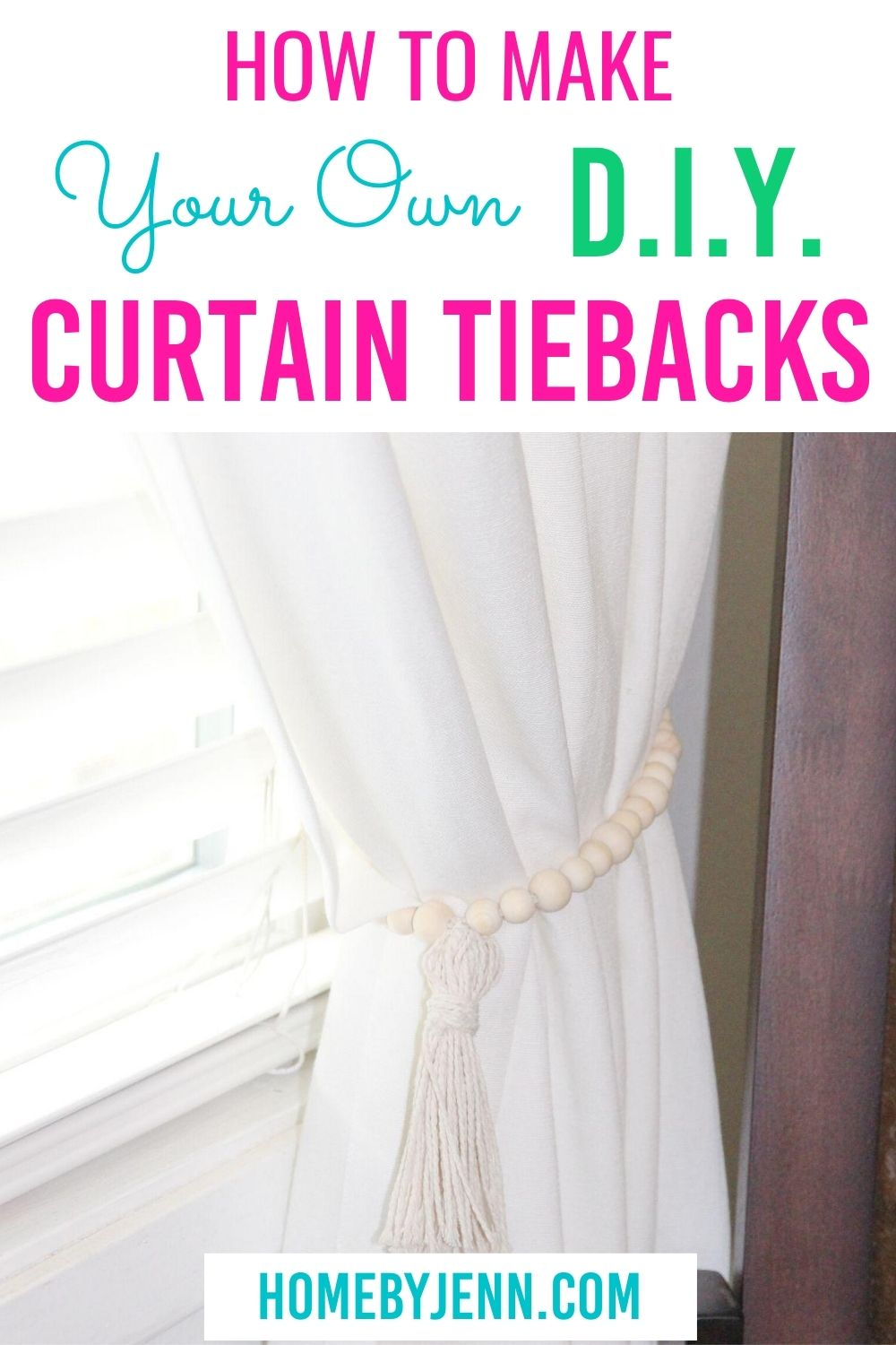 Very simple DIY Curtain Tie Backs that take only minutes to make. Check out how to make curtain tiebacks with this video tutorial. This post shows you how you can make this a zero-cost project. via @homebyjenn