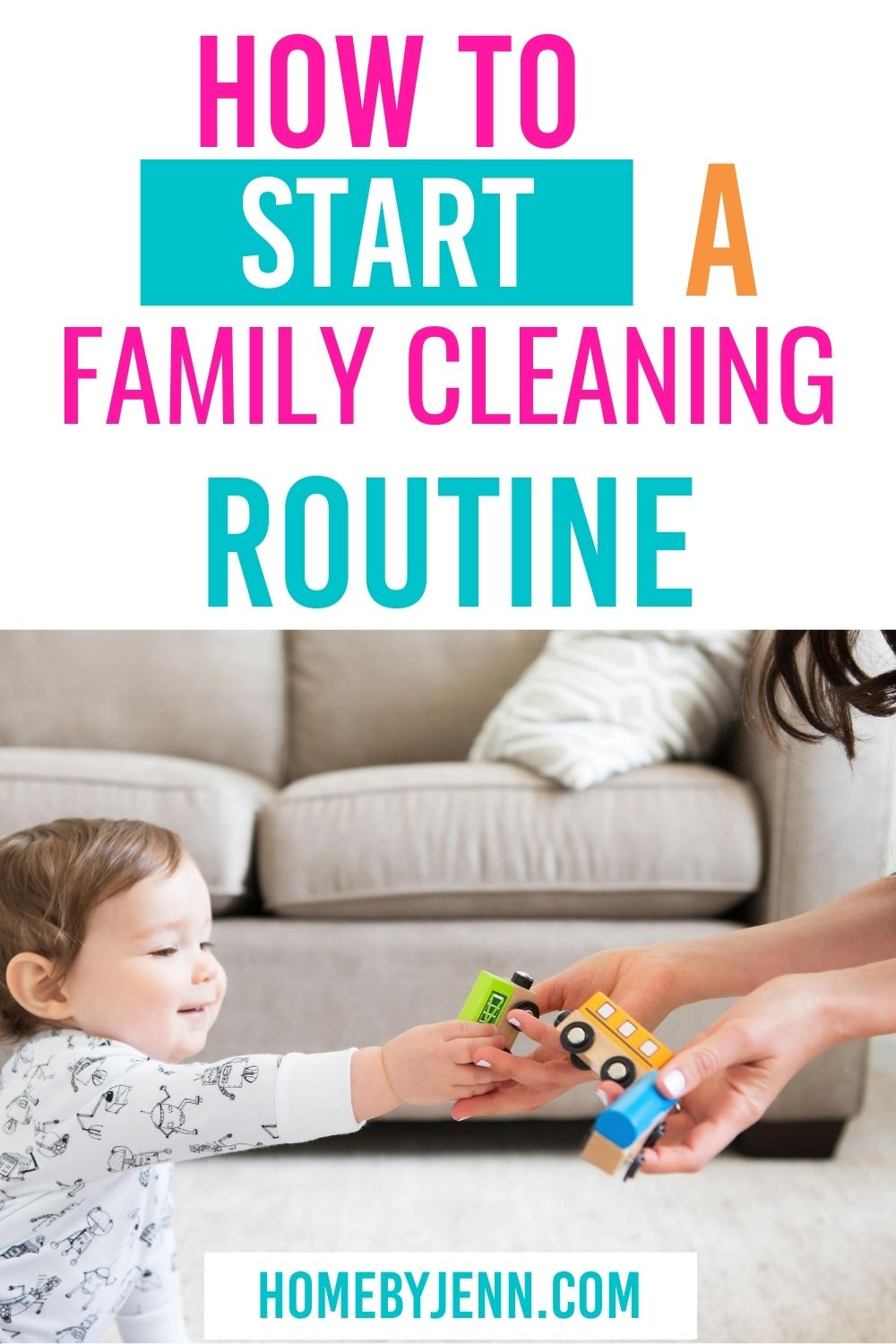 Create a family cleaning routine with this step by step tutorial and free cleaning printable and chore chart included. #cleaning #clean #cleanhome #cleanroutine #chorechart #family #familyroutine #familycleanroutine via @homebyjenn