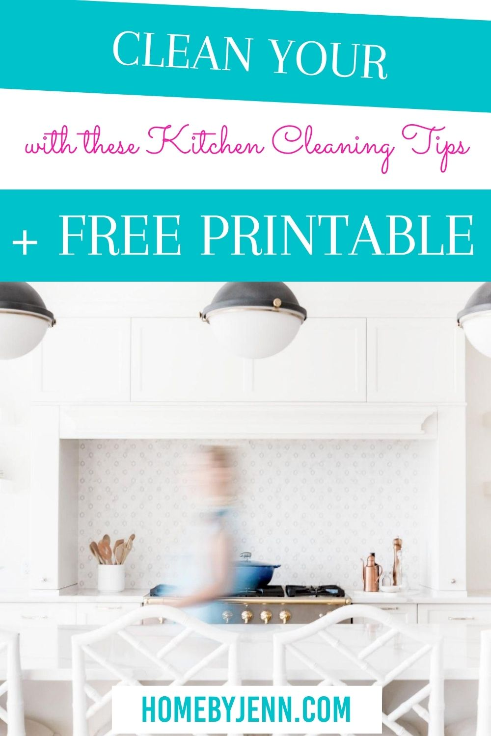 How to clean a kitchen so you can keep your kitchen clean. Know what to clean when in your kitchen by using the kitchen cleaning checklist and cleaning tips. | #cleaning #tips #hacks #kitchen #howto #deepclean #checklist via @homebyjenn