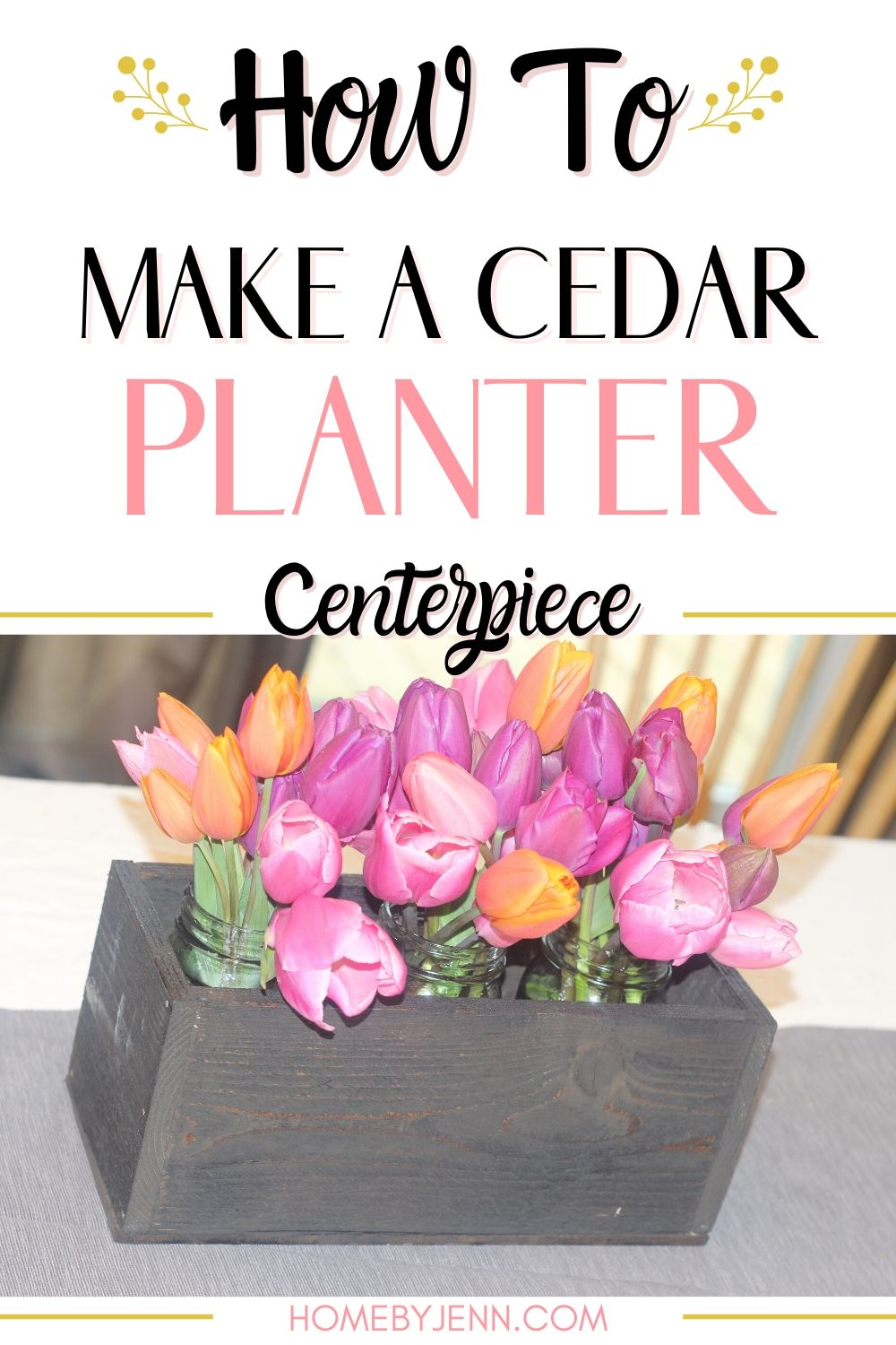 Build this cedar planter centerpiece to display a beautiful floral display. This is a perfect beginner DIY woodworking project. #DIY #diyproject #woodworking #rustic #homedecor #centerpiece via @homebyjenn