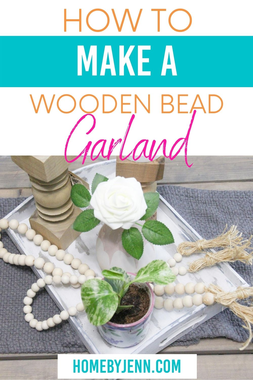 These fun farmhouse bead garlands are really easy to make and a budget-friendly DIY home decor project. via @homebyjenn