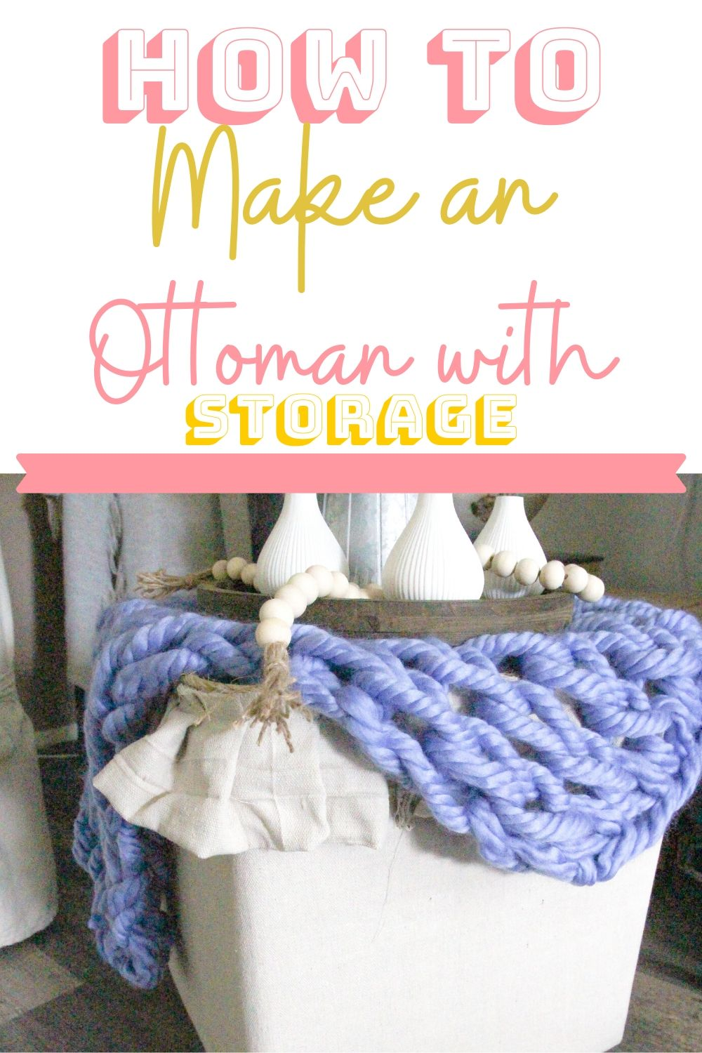 Learn how to make an ottoman with storage. This DIY ottoman with storage is a simple project that you can make from using supplies you have around the house. #diy #ottoman #extrastorage #livingroomstorage via @homebyjenn