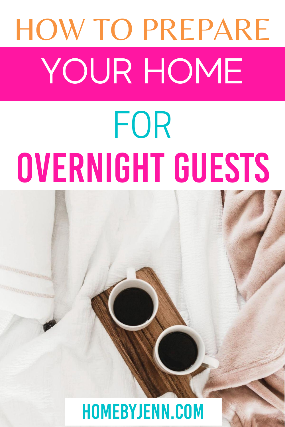 bed with a tray of 2 cups of coffee via @homebyjenn