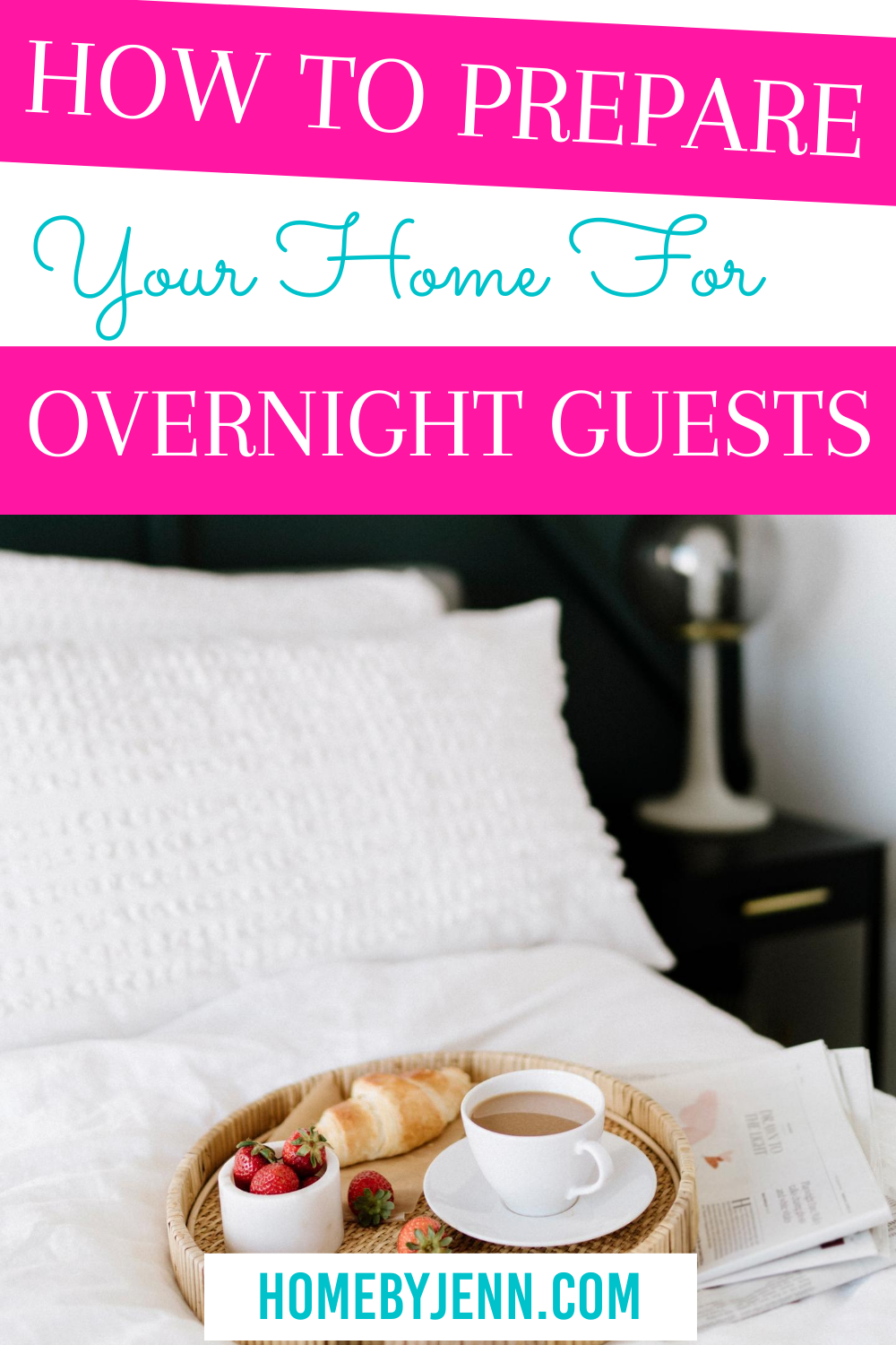 bed with a tray of a cup of coffee via @homebyjenn
