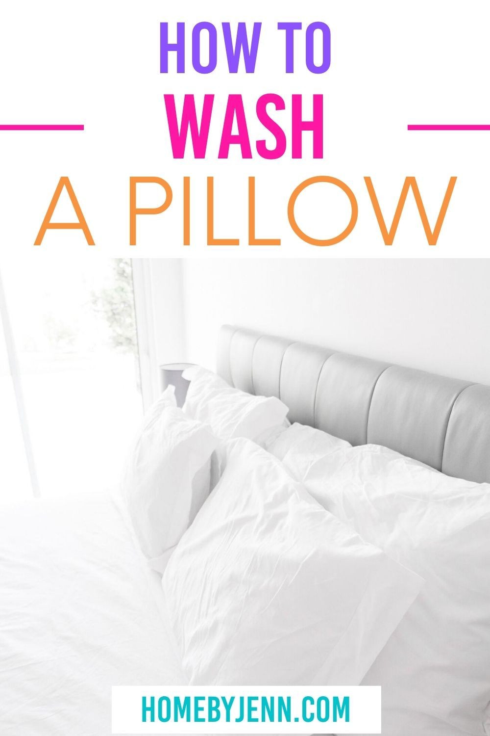 Learn how easy it is to wash your pillows. In this post, you'll learn different ways to wash all different pillow types to extend the life of your pillows. Learn how to remove stubborn yellow stains from your pillows. via @homebyjenn