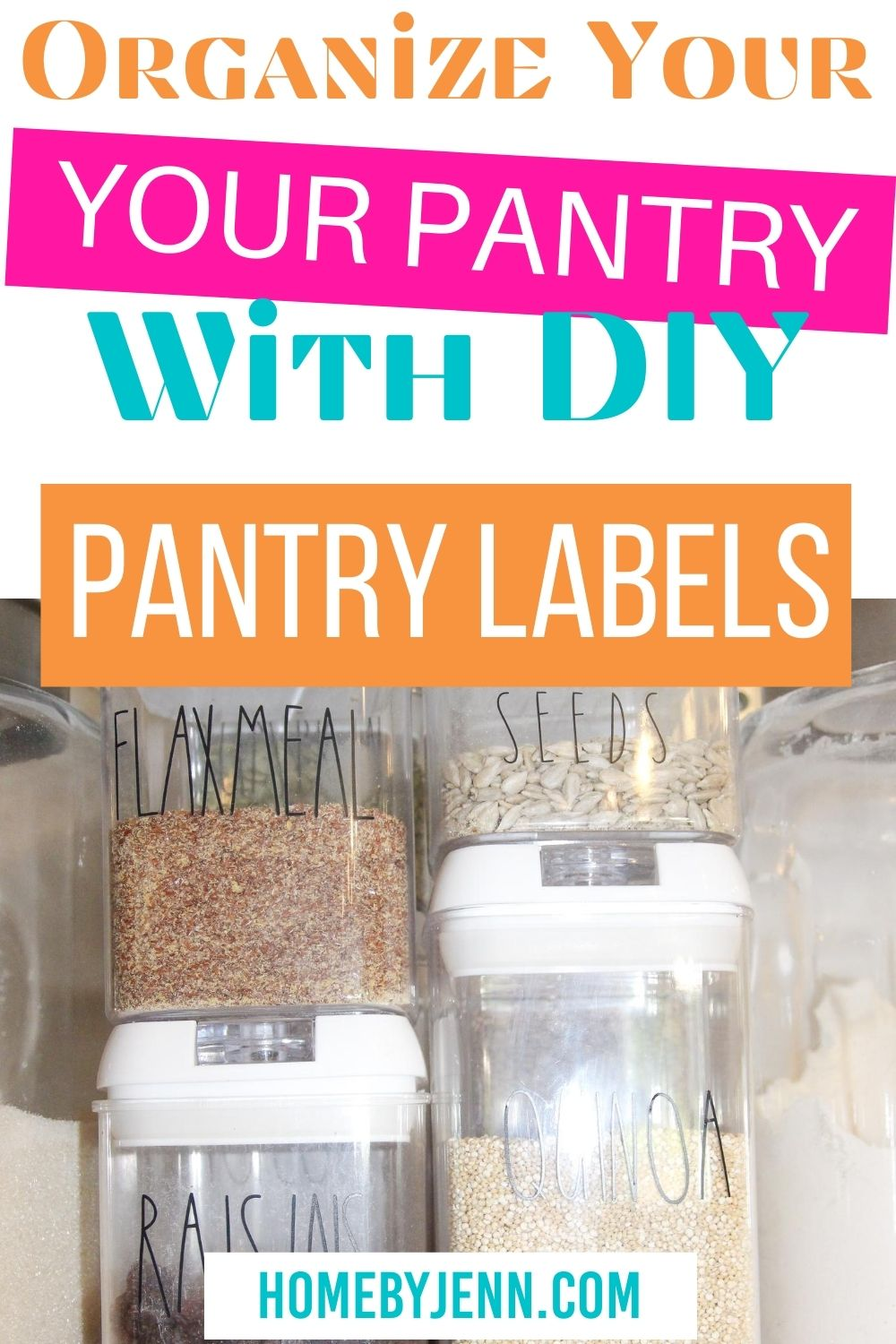 Learn how to DIY your own pantry labels. These custom pantry labels are simple to make in just a little bit of time. Grab the free pantry label printable to make your own custom labels. #freeprintable #customlabel #kitchen #organizing #organizedkitchen #labels #DIY via @homebyjenn