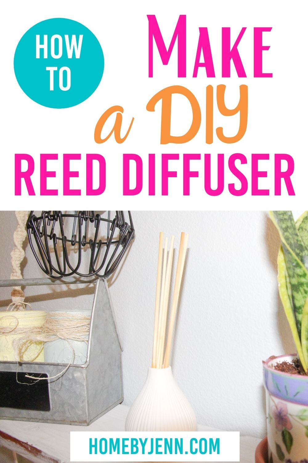 Learn how to make a reed diffuser. This simple DIY reed diffuser tutorial is a very inexpensive project that you can have completed in about 5 minutes. via @homebyjenn