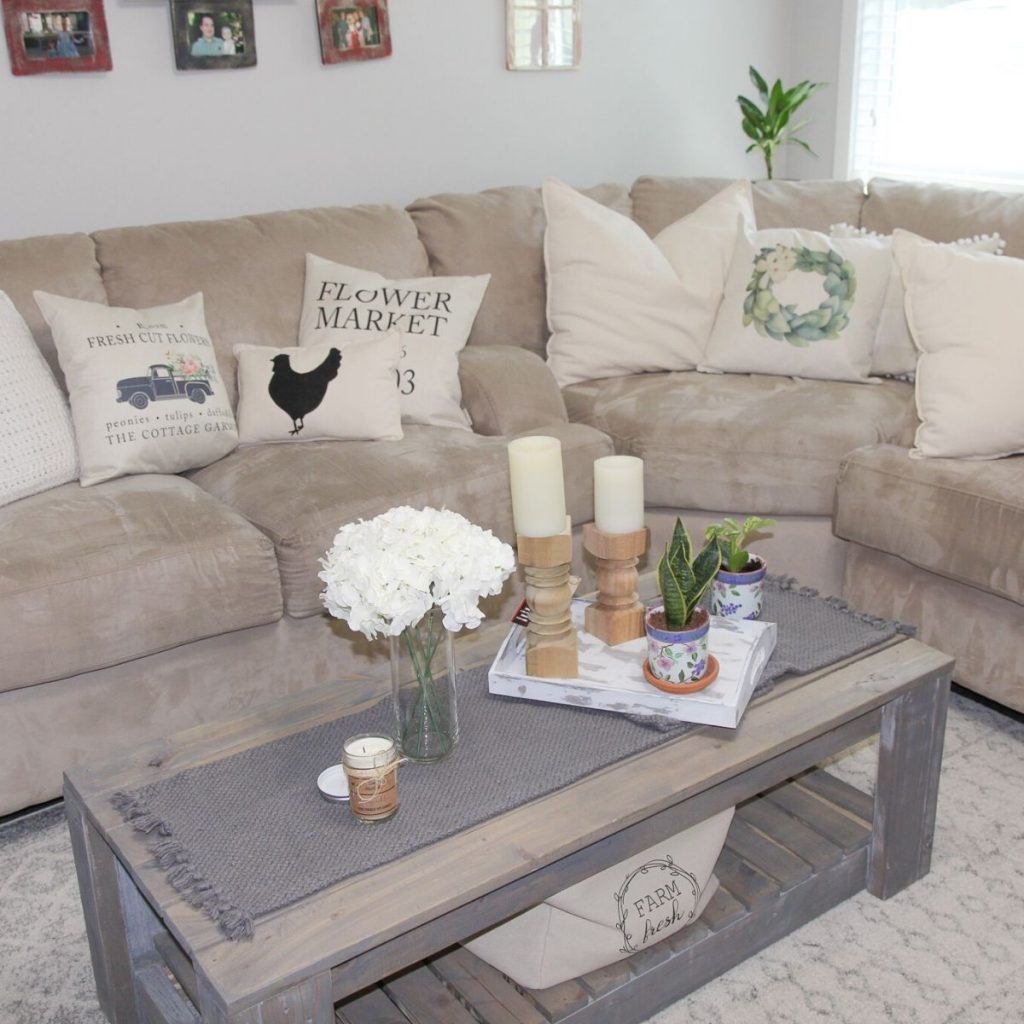 rustic coffee table in a family room